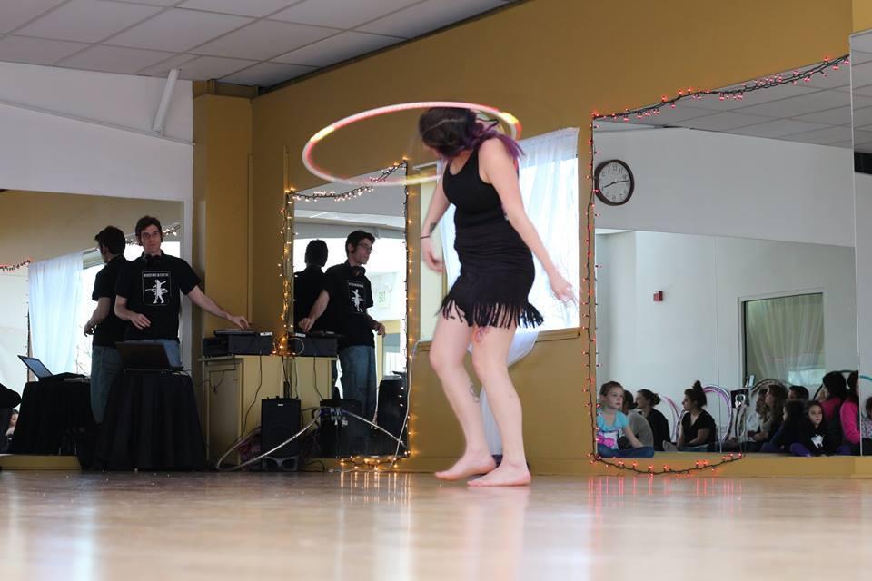 performing hula hoops